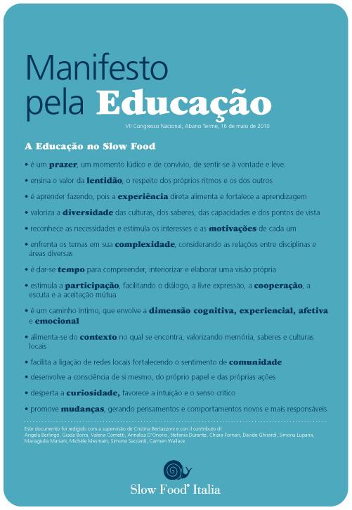Manifesto Slow Food pela Educação